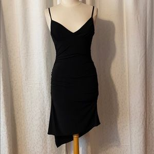Dresses & Skirts - sext black ruched dress with asymmetrical hem